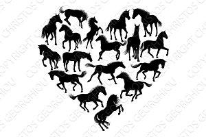 Horse Silhouette Heart