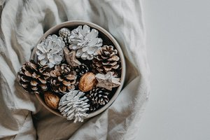 Festive pinecone decorations