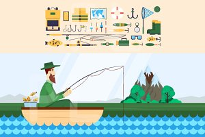 Fishing. Set of icons.
