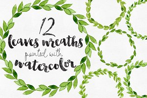 12 Watercolor Leaves Wreaths