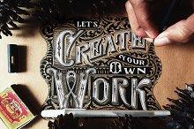 Craft Paper Lettering Display Mockup