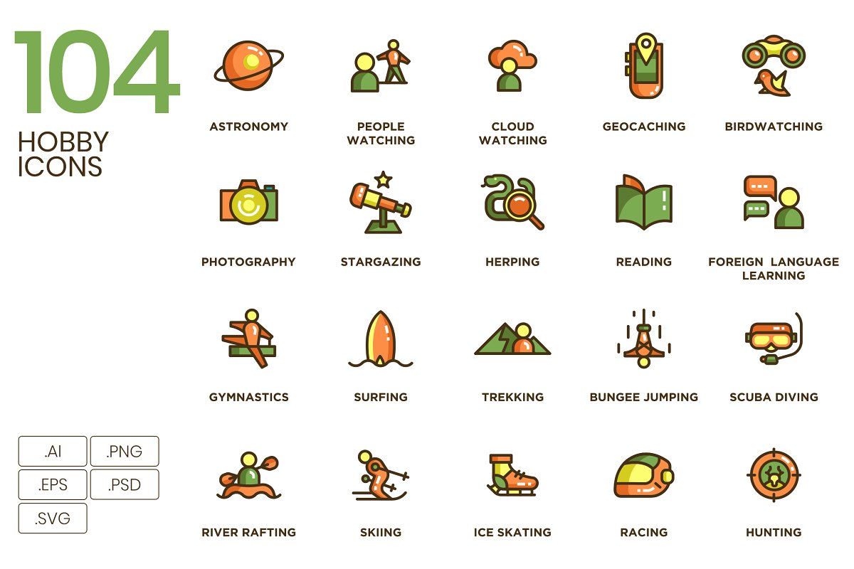 104 Hobby Icons in Icons - product preview 8