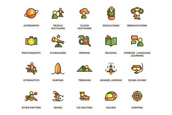 104 Hobby Icons in Icons - product preview 1