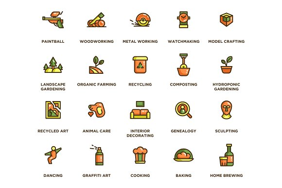 104 Hobby Icons in Icons - product preview 2