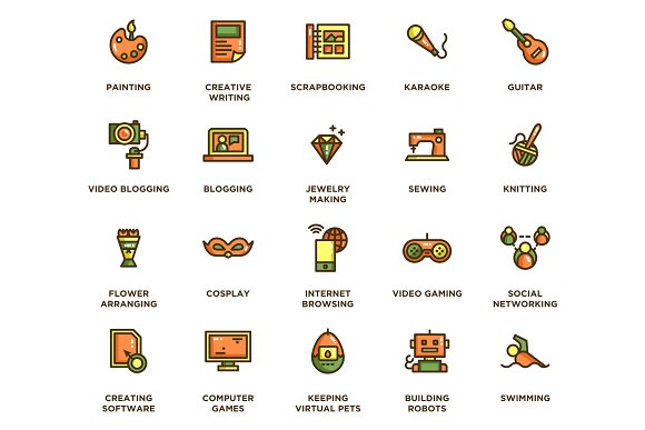 104 Hobby Icons in Icons - product preview 3