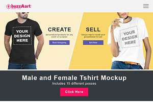 Male and Female tshirt mockup
