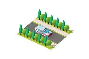 Isometric right view ambulance