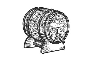 Wine beer barrel engraving vector
