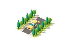 Isometric left view yellow taxi