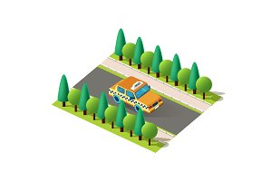 Isometric right view yellow taxi