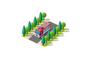 Isometric left view red fire car
