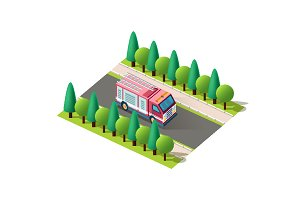 Isometric right view red fire car