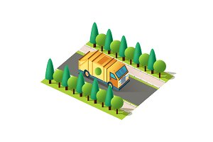 Isometric right view yellow car