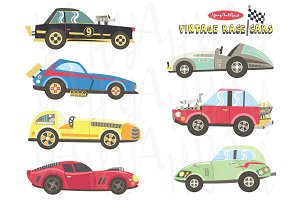 RetroCute Vintage Race Car Elements