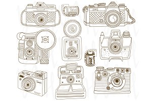 Hand Draw Retro Camera Elements