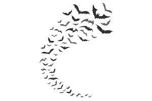 Bats swarm silhouette