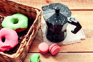 breakfast with coffee pot and donuts