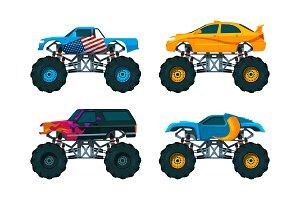 Set big monster truck cars. Vector