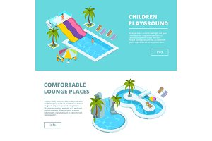 Horizontal banners with isometric