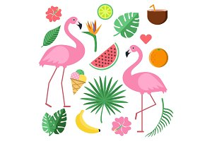 Illustrations with summer symbols