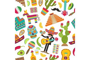 Mexican seamless pattern. Colored