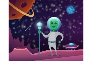 Space background with character of
