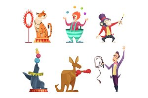 Circus cartoon characters. Vector