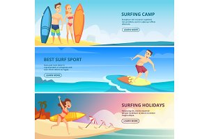 Surfing banners illustrations