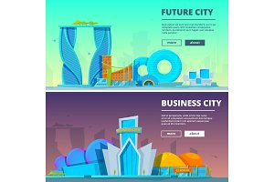 Futuristic buildings. Vector
