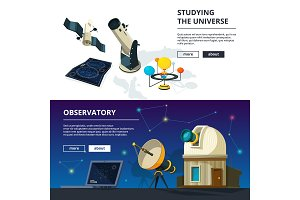 Astronomy. Vector banners set of