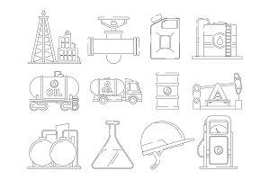 Oil line icons. Linear icon set for