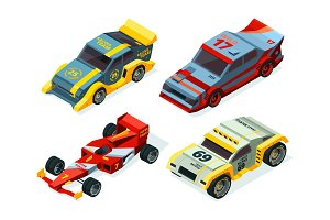 Race car set. 3D racing cars