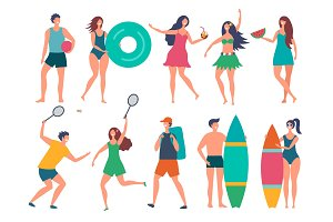 Groups of summer peoples. Vector