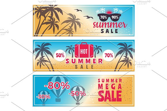 Summer sale banners. Horizontal