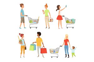 Peoples shopping. Vector