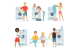 Laundry service characters. Vector