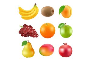 Different illustrations of fruits