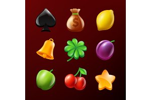 Symbols of slot machine. Set of