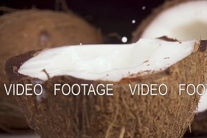 Slow motion coconut milk and coconut