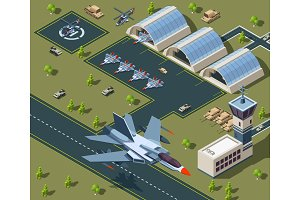 Military airport isometric. Low poly