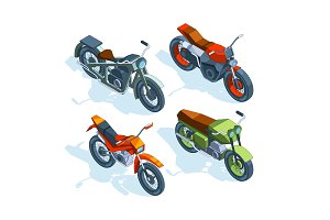 Sport bikes isometric. 3D pictures