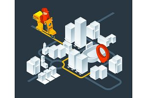 Urban 3d map navigation. Isometric