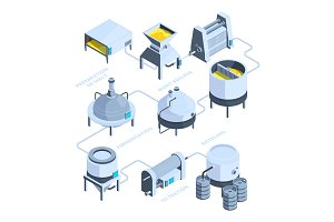 3d landscape of brewery. Vector