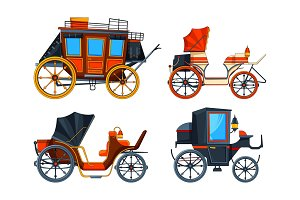 Carriage flat style. Illustrations