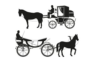 Vintage carriages with horses