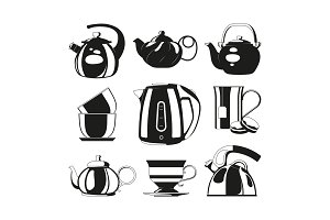 Black kettles. Vector silhouettes of
