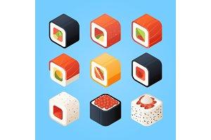 Sushi isometric. Various rolls sushi