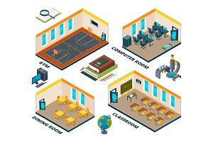 Isometric school interior. Building