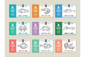 Seafood labels. Design template with