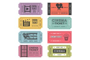 Template of cinema tickets. Vector